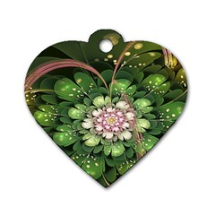 Fractal Flower Petals Green  Dog Tag Heart (one Side) by amphoto