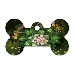 Fractal Flower Petals Green  Dog Tag Bone (two Sides) by amphoto