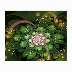 Fractal Flower Petals Green  Small Glasses Cloth (2 Side) by amphoto