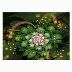 Fractal Flower Petals Green  Large Glasses Cloth (2 Side) by amphoto