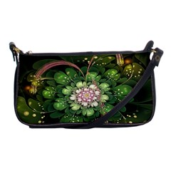 Fractal Flower Petals Green  Shoulder Clutch Bags by amphoto