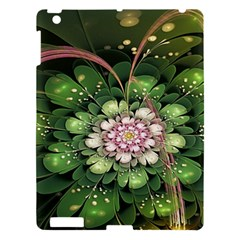 Fractal Flower Petals Green  Apple Ipad 3/4 Hardshell Case by amphoto