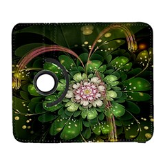 Fractal Flower Petals Green  Galaxy S3 (flip/folio) by amphoto
