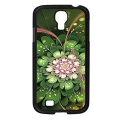 Fractal Flower Petals Green  Samsung Galaxy S4 I9500/ I9505 Case (black) by amphoto