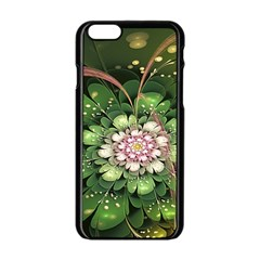 Fractal Flower Petals Green  Apple Iphone 6/6s Black Enamel Case by amphoto