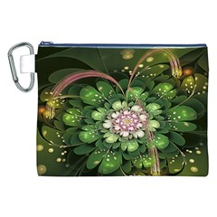 Fractal Flower Petals Green  Canvas Cosmetic Bag (xxl) by amphoto