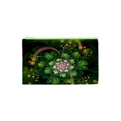 Fractal Flower Petals Green  Cosmetic Bag (xs) by amphoto