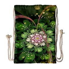 Fractal Flower Petals Green  Drawstring Bag (large) by amphoto