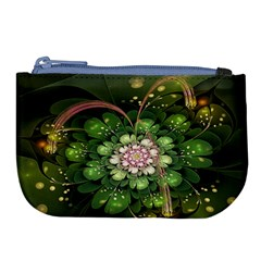 Fractal Flower Petals Green  Large Coin Purse by amphoto