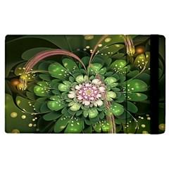Fractal Flower Petals Green  Apple Ipad Pro 9 7   Flip Case by amphoto