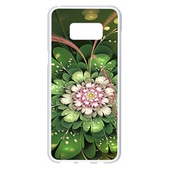Fractal Flower Petals Green  Samsung Galaxy S8 Plus White Seamless Case by amphoto