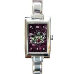 Flower Burst Background  Rectangle Italian Charm Watch