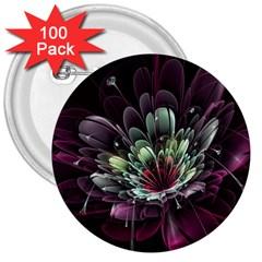 Flower Burst Background  3  Buttons (100 pack)