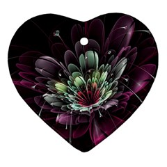 Flower Burst Background  Heart Ornament (two Sides) by amphoto