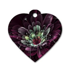 Flower Burst Background  Dog Tag Heart (One Side)