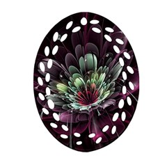Flower Burst Background  Oval Filigree Ornament (two Sides) by amphoto