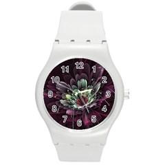 Flower Burst Background  Round Plastic Sport Watch (M)