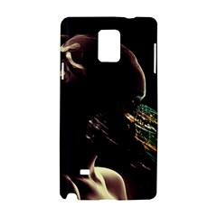 Face Shadow Profile Samsung Galaxy Note 4 Hardshell Case by amphoto
