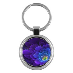 Purple Flower Fractal  Key Chains (round)  by amphoto