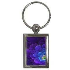Purple Flower Fractal  Key Chains (rectangle)  by amphoto