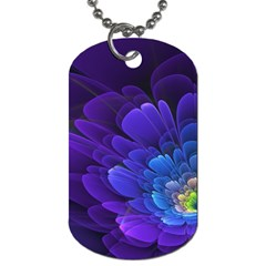 Purple Flower Fractal  Dog Tag (one Side) by amphoto