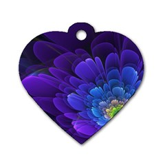 Purple Flower Fractal  Dog Tag Heart (one Side) by amphoto