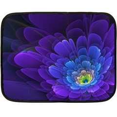 Purple Flower Fractal  Fleece Blanket (mini) by amphoto