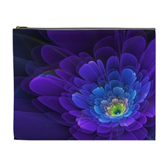 Purple Flower Fractal  Cosmetic Bag (xl) by amphoto