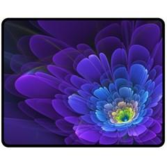 Purple Flower Fractal  Fleece Blanket (medium)  by amphoto