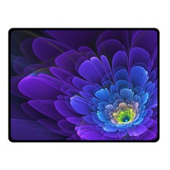 Purple Flower Fractal  Fleece Blanket (small) by amphoto