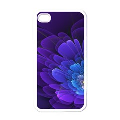 Purple Flower Fractal  Apple Iphone 4 Case (white) by amphoto