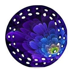 Purple Flower Fractal  Ornament (round Filigree) by amphoto