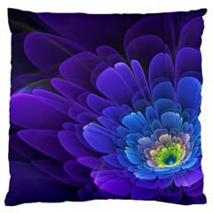 Purple Flower Fractal  Large Cushion Case (two Sides) by amphoto