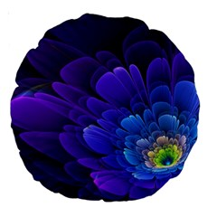 Purple Flower Fractal  Large 18  Premium Round Cushions by amphoto