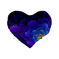 Purple Flower Fractal  Standard 16  Premium Flano Heart Shape Cushions by amphoto