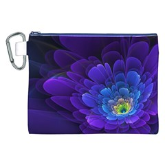 Purple Flower Fractal  Canvas Cosmetic Bag (xxl) by amphoto