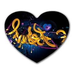 Sign Paint Bright  Heart Mousepads by amphoto