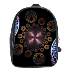 Circles Colorful Patterns  School Bag (large) by amphoto
