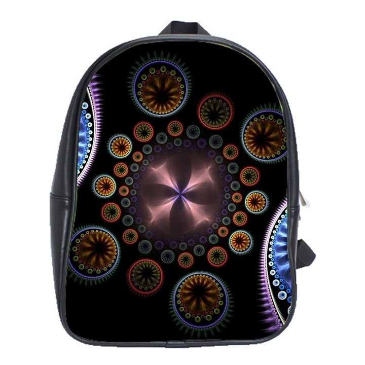 Circles Colorful Patterns  School Bag (XL)