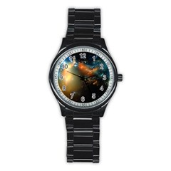 Explosion Sky Spots  Stainless Steel Round Watch by amphoto