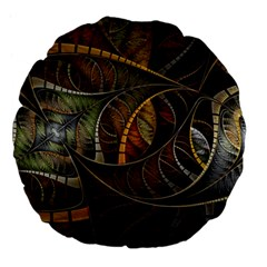 Mosaics Stained Glass Colorful  Large 18  Premium Flano Round Cushions by amphoto