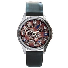 Lines Patterns Background  Round Metal Watch by amphoto