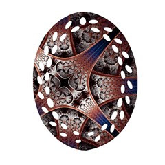 Lines Patterns Background  Oval Filigree Ornament (two Sides) by amphoto