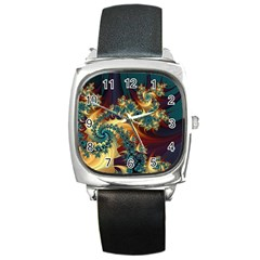 Patterns Paint Ice  Square Metal Watch by amphoto