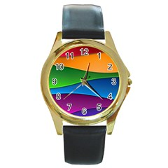 Layers Light Bright  Round Gold Metal Watch by amphoto