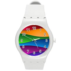 Layers Light Bright  Round Plastic Sport Watch (m) by amphoto