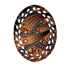 Patterns Background Dark  Oval Filigree Ornament (two Sides) by amphoto
