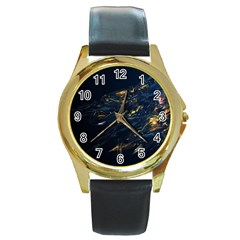 Spots Dark Lines Glimpses 3840x2400 Round Gold Metal Watch by amphoto