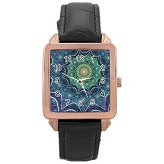 Background Line Light  Rose Gold Leather Watch  by amphoto