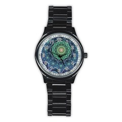 Background Line Light  Stainless Steel Round Watch by amphoto